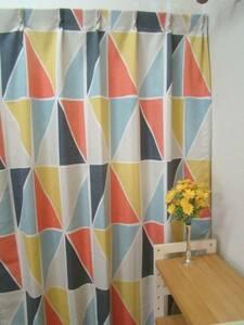 ★激安カーテン市場★100x215ドレープカーテン/カラフル柄2枚組丈直し無料