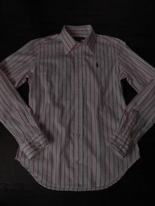 ★ラルフ★サイズ4/M 白×ピンクのストライプ美ライン長袖シャツ 送料215円 美品
