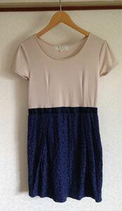 ロペピクニック★トップスウェット素材 ブルーレーススカート ワンピース 38サイズ