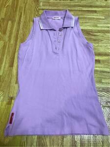 プラダ薄紫ノースリーブポロシャツXSレディース。PRADA正規品ポロシャツ。色むらあり。