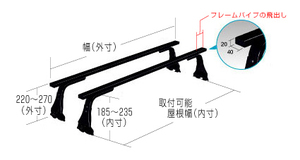 2本バータイプ ルーフキャリア NISSAN NV100クリッパーバン DR64V 標準ルーフ/ハイルーフ 長尺物,回転灯等に