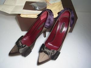 新品未使用 ルイ ヴィトン LOUIS VUITTON パンプス ハイヒール サテン リボン ヒール 36 1/2 靴 シューズ LV 93000円