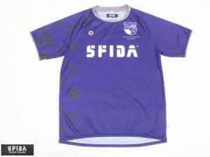 送料込・USED スフィーダ SFIDA BIGロゴプリント 袖・脇カモフラ柄 半袖プラクティスシャツ 紫 Mサイズ