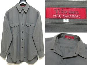 希少 廃盤ライン Y's for men RED LABEL ワイズフォーメン レッドラベル コットンツイル シャツ 2 カーキグレー ヨウジヤマモト オム