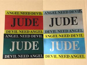 *... one JUDE * sticker seal * 4 pieces set * ANGEL NEED DEVIL * DEVIL NEED ANGEL *