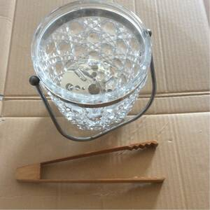 ガラス製 アイスペール ウイスキー ワインなどに 竹製氷挟み付属