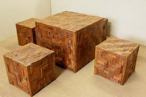 『癒し』アンティーク*チーク古木自然杢*オールドチーク*銘木*手作り*珍品★引出付 寄木テーブルセット