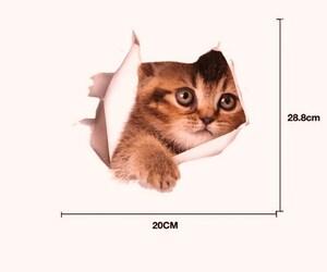■  送料無料  騙し絵 猫 ウォールステッカー シール 賃貸OK 剥がせます  /// 3D 日本猫 三毛猫 壁紙 ねこ ネコ ws11