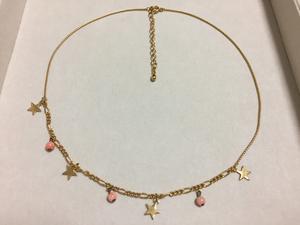 本珊瑚 揺れる5㎜玉と星飾りのチョーカーネックレス