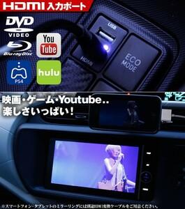 10 アルファード HDMI入力&USBポート搭載 トヨタB スイッチホールパネル youtube動画 充電可能 映画鑑賞 出力容量:2.1A