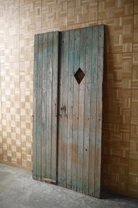 antique France large green paint wood door set door . gate .