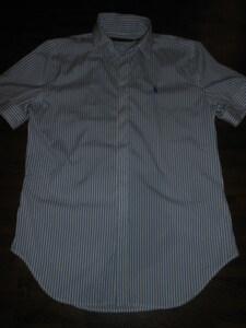 ★ラルフ★美品M 青×白のストライプの半袖シャツ US4 送料180円