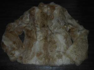 ★ef-de★9号/M ベージュのスタンドカラーのリアルラビットファージャケットコート 美品