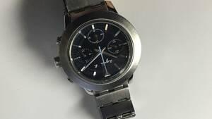 ★ アニエスベー クロノグラフ GIVE LOVE 7T11-0AN0  メンズ  腕時計   ★  ブラック文字盤   x