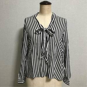 美品 H&M シャツ トップス ストライプ カットソー リボン エイチアンドエム ストライプシャツ 黒 白
