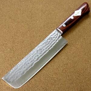 関の刃物 菜切り包丁 16.5cm (165mm) 富士觀 鎚目鍛造 本割込 3層鋼 VG-1 ステンレス 家庭用 野菜切り 両刃包丁 大根のかつらむき 日本製