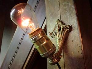 米国1900sアンティーク真鍮ゴシックランプ K 壁掛けカフェ照明ヴィンテージウォールブラケット店舗 リノベーションゴスロリ骨董ライトレア
