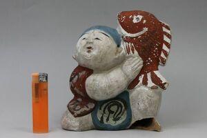 S-144 土人形 童子と鯛 着色 郷土玩具 山陰初出し 民芸 蔵出し 古玩