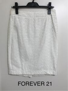 FOREVER21 刺繍スカート ミニスカート ホワイト 4 M 送料200円