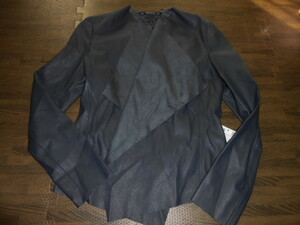 ★ZARA★新品S ネイビーのフェイクレザーのジャケット 送料510円②