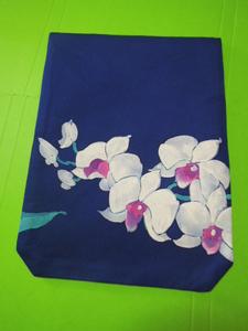 紺色地に白色の胡蝶蘭花柄・絹地・L寸金封入れふくさ♪♪