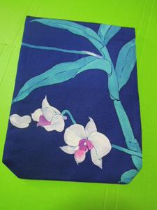 濃紺色地白色の胡蝶蘭花柄・絹地・L寸金封入れふくさ♪♪♪♪♪