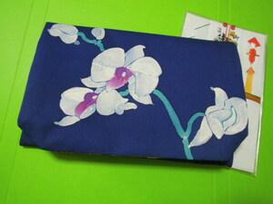 紺色地白色の胡蝶蘭花柄・絹地・L寸・お洒落な金封入れふくさ♪♪♪♪♪♪