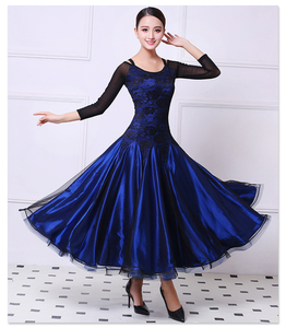新作 社交ダンス レディースダンス衣装 ★サイズオーダー可 競技用ドレスワンピース ネイビー