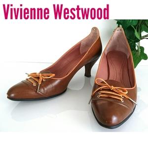 正規良品 Vivienne Westwood ヴィヴィアン ウエストウッド オーブ ヴィンテージ レザー パンプス ブラウン 茶色 36 日本製