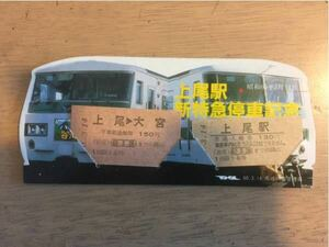 昭和60年3月14日 上尾駅新特急停車記念 入場券 乗車券