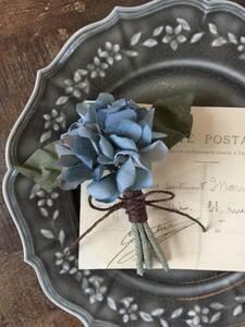 ハンドメイド 布花 紫陽花のブローチ コサージュ ブルー アジサイ