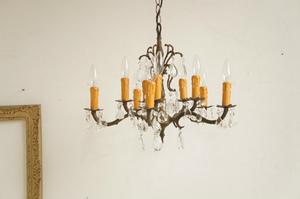 アメリカ アンティーク 10灯シャンデリア/クリスタル/真鍮/ブラス/蝋燭/ヨーロッパ/クラシック/キャンドル/ホテル/ヨーロピアン/