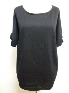 Couture brooch/クチュールブローチ◆黒両袖リボンドルマンカットソー38/ワールドブラック姫系◆1129