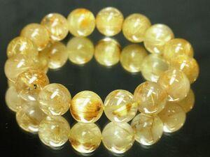 高級天然石 ゴールドタイチンルチルブレスレット 最強金運数珠 12ミリ玉パワーストーン 開運