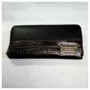 【新同】メンズ ラウンドファスナー長財布 ブラック型押しクロコ風xブラウン ツートン【未使用だから安心です】