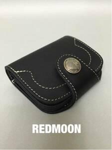 【新品】REDMOONレッドムーン HR-01AK ショートウォレット 革 黒