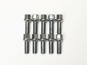 10本セット メッキボルト 球面14R M14xP1.5 首下28mm ベンツ Sクラス W140 W220 W221 W222 W217 CL W215 W216 CLS W218 W219 S55 S63(a