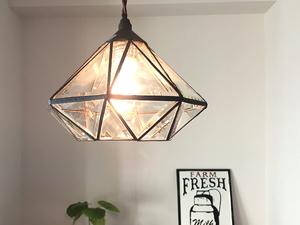 1灯 ガラスライト 照明 ペンダントランプ カフェ ガラス カフェ レトロ シャビー ステンドグラス