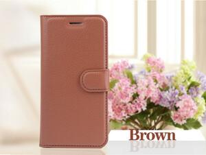 iPhoneX 手帳型レザーケース カード収納 オシャレ シンプル スマホカバー 携帯ケース  茶色 ブラウン 1