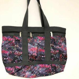 ◆小花柄◆レスポートサック LESPORTSAC バッグ ハンドバッグ レスポナイロン ダークグレー×マルチ 花柄 美品