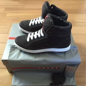 PRADA プラダ プラダスポーツ ハイカット スニーカー シューズ 靴 スエード レザー 牛革 メンズ 濃いグレー 6 25cm 新品未使用 正規品 本物