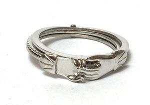 ビンテージ シェイクハンドリング 3連指輪 17.5 号 シルバー製 握手 即決 #A