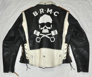 1%leathers ライダースジャケット 馬革 ホースハイド 白黒ツートーン BRMC 髑髏 スカル バックペイント