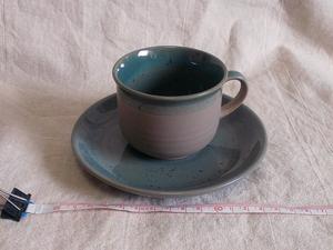 【コーヒーカップ/ソーサー】『良品』 コーヒーカップ ソーサー 焼き物 陶器 レトロ おしゃれ グリーン グレー / 180110b