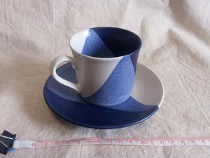 【コーヒーカップ/ソーサー】『良品』 コーヒーカップ ソーサー 焼き物 陶器 レトロ おしゃれ ブルー トーン / 180110b