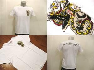 本物 新品 エドハーディー Ed Hardy 刺繍 半袖 Tシャツ ホワイト S