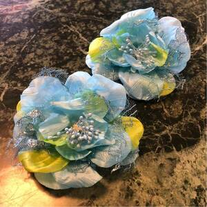 【新品】シュークリップ★大きなお花クリップ シューズクリップ 水色 フラワーモチーフ パンプス サンダル