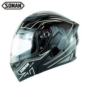 ★新入荷 ★SOMAN ★フルフェイスヘルメット サイズ選択可 黒白-M