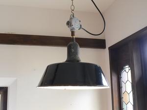 アンティーク照明 インダストリアル系 ブラックホーロー ペンダントランプ 琺瑯 ヴィンテージライト 工業系