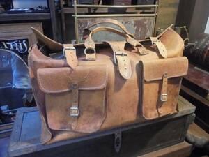 【本革の60㎝レザーバッグ】牛革トランクドクターバッグ旅行鞄古道具アンティーク真鍮インテリア什器古着ヴィンテージカフェ店舗什器バー